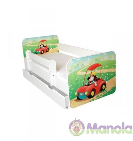 Manola B autós ágyneműtartós gyerekágy levehető leesésgátlóval