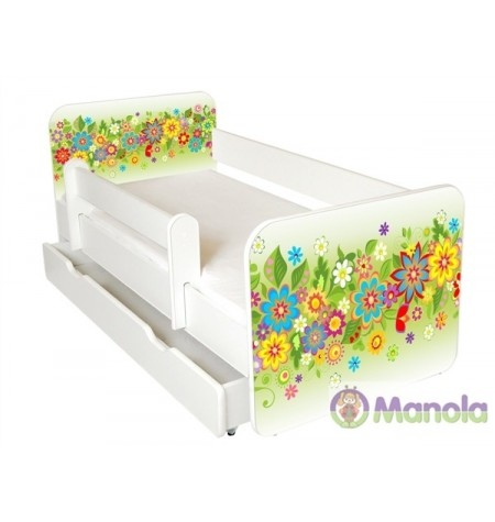 Manola B Nyár ágyneműtartós gyerekágy levehető leesésgátlóval
