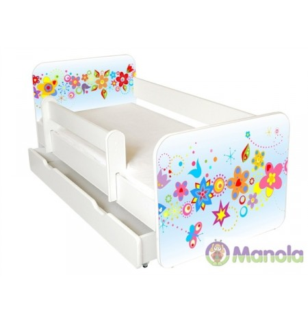 Manola B Tavasz ágyneműtartós gyerekágy levehető leesésgátlóval