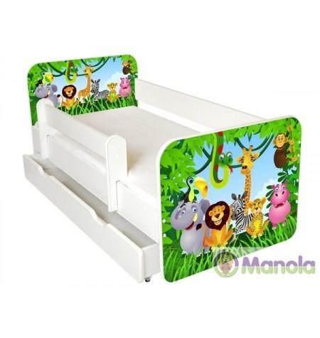 Manola B Zoo ágyneműtartós gyerekágy levehető leesésgátlóval