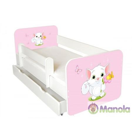 Manola B Cat ágyneműtartós gyerekágy levehető leesésgátlóval