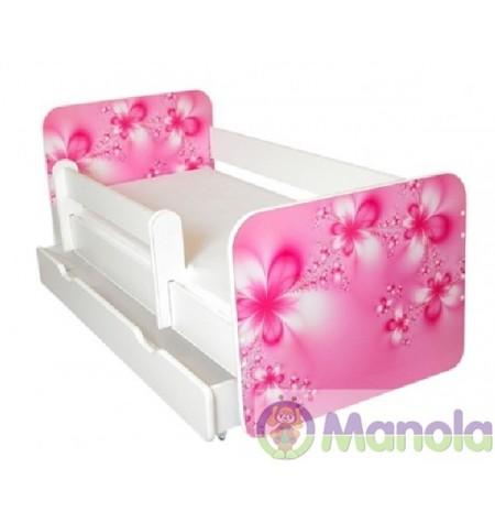 Manola B Virágos ágyneműtartós gyerekágy levehető leesésgátlóval