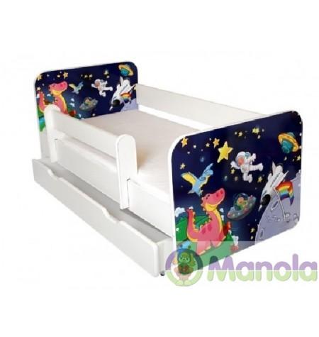 Manola B Űrhajó ágyneműtartós gyerekágy levehető leesésgátlóval