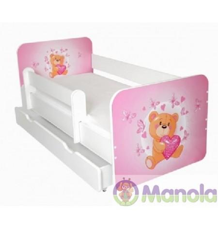 Manola B Teddy maci ágyneműtartós gyerekágy levehető leesésgátlóval