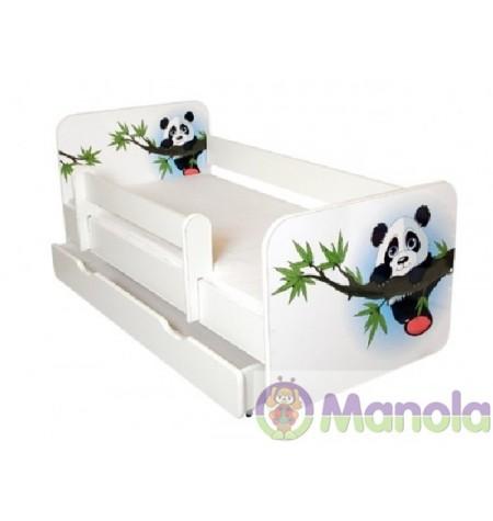 Manola B panda ágyneműtartós gyerekágy levehető leesésgátlóval