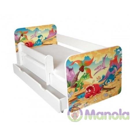 Manola B Őslény ágyneműtartós gyerekágy levehető leesésgátlóval