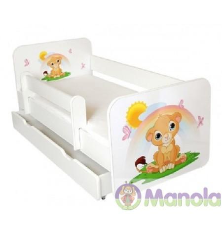 Manola B oroszlán ágyneműtartós gyerekágy levehető leesésgátlóval