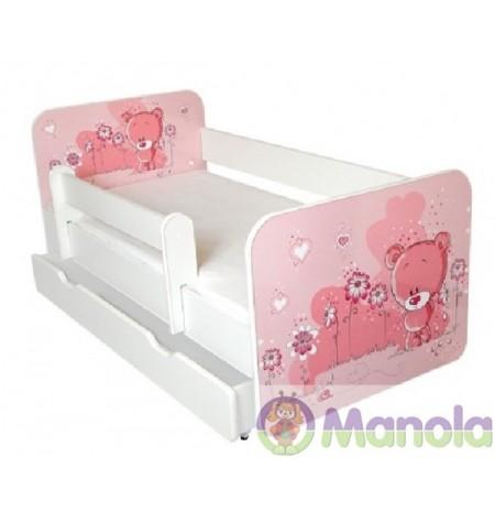 Manola B pink maci ágyneműtartós gyerekágy levehető leesésgátlóval
