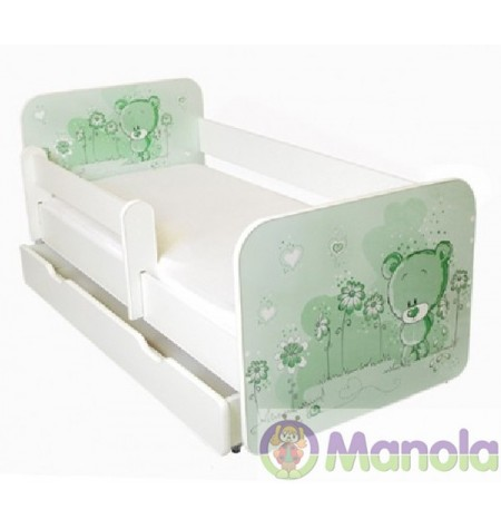 Manola B Green bear ágyneműtartós gyerekágy levehető leesésgátlóval