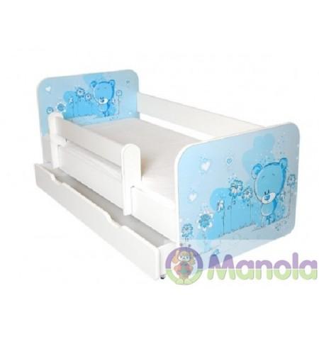Manola B kék maci ágyneműtartós gyerekágy levehető leesésgátlóval