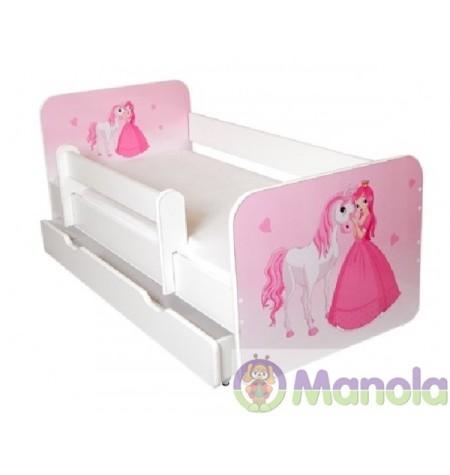 Manola B Hercegnő ágyneműtartós gyerekágy levehető leesésgátlóval