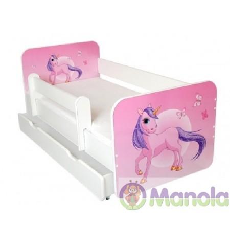 Manola B Egyszarvú ágyneműtartós gyerekágy levehető leesésgátlóval