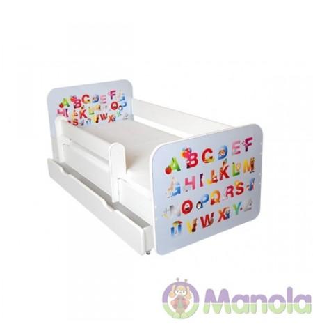 Manola B ABC ágyneműtartós gyerekágy levehető leesésgátlóval