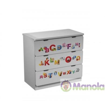 Manola ABC gyerekszoba komód választható mintával