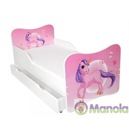 Manola Egyszarvú ágyneműtartós gyerekágy megemelt oldalfallal