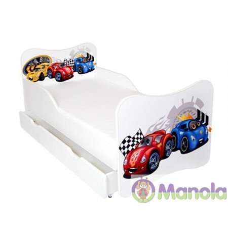 Manola Verda piros ágyneműtartós gyerekágy megemelt oldalfallal