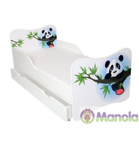 Manola Panda ágyneműtartós gyerekágy megemelt oldalfallal