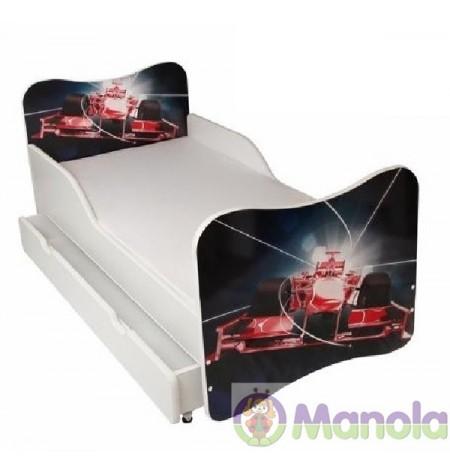 Manola Versenyautó ágyneműtartós gyerekágy megemelt oldalfallal