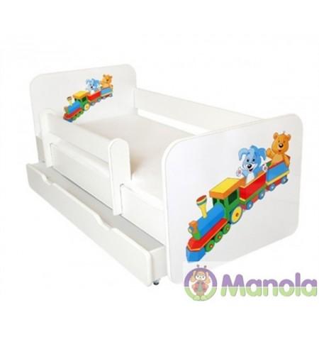 Manola B Vonatos ágyneműtartós gyerekágy levehető leesésgátlóval