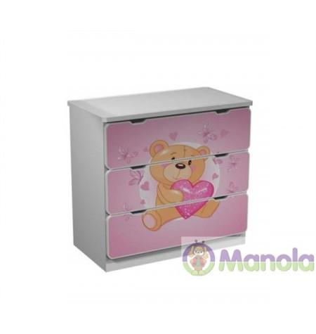 Manola Teddy maci gyerekszoba komód választható mintával