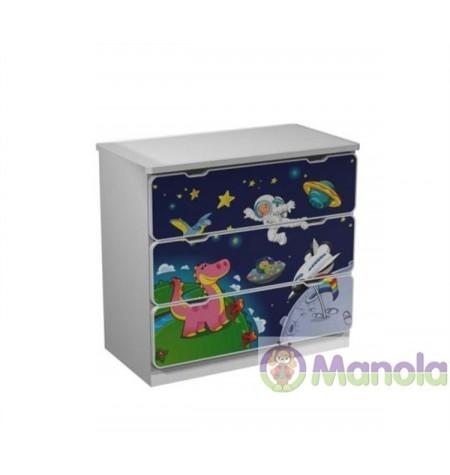 Manola Űrhajó gyerekszoba komód választható mintával