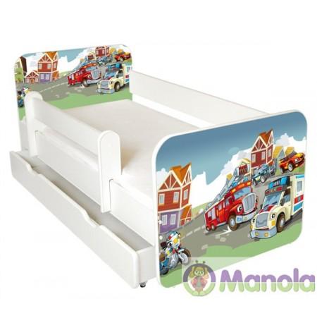 Manola B Tűzoltó ágyneműtartós gyerekágy levehető leesésgátlóval