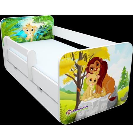 Manola B zoo 4 ágynemütartós gyerekágy levehetö leesésgátlóval