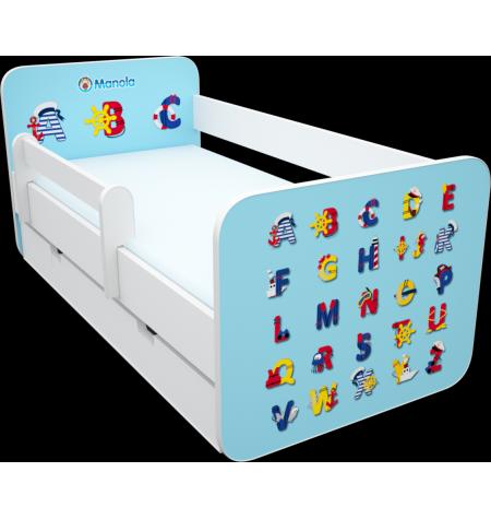 Manola B abc kék ágynemütartós gyerekágy levehetö leesésgátlóval