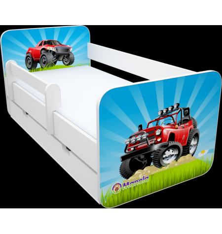 Manola B jeep ágynemütartós gyerekágy levehetö leesésgátlóval