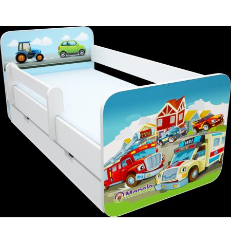Manola B járműves ágynemütartós gyerekágy levehetö leesésgátlóval