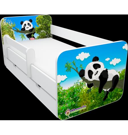 Manola B panda 2 ágynemütartós gyerekágy levehetö leesésgátlóval