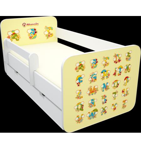 Manola B abc sárga ágynemütartós gyerekágy levehetö leesésgátlóval