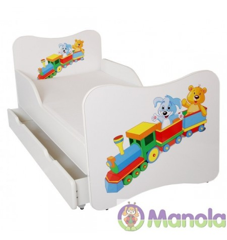 Manola A Vonatos gyerekágy ágyneműtartóval