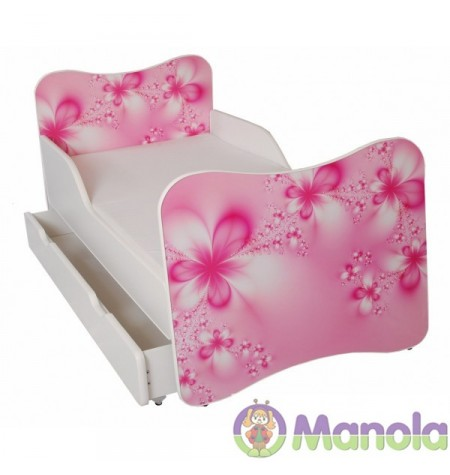 Manola A Virágos gyerekágy ágyneműtartóval