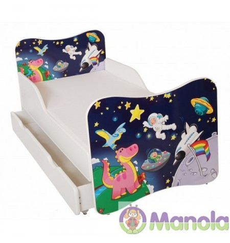 Manola Űrhajó ágyneműtartós gyerekágy megemelt oldalfallal