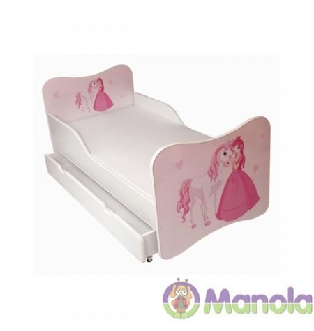 Manola Hercegnő ágyneműtartós gyerekágy megemelt oldalfallal