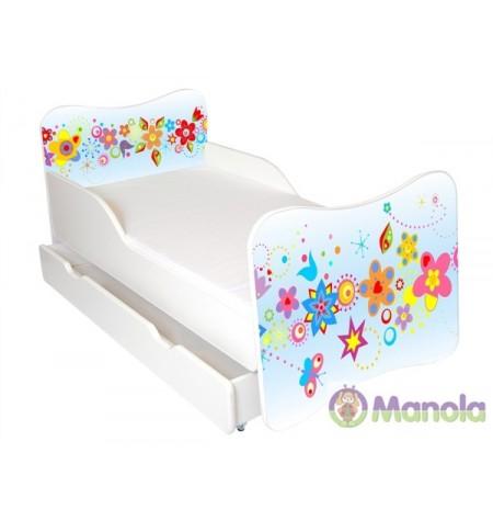 Manola Tavasz ágyneműtartós gyerekágy megemelt oldalfallal