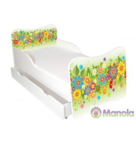 Manola Nyár ágyneműtartós gyerekágy megemelt oldalfallal