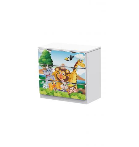 Manola Zoo 3 gyerekszoba komód