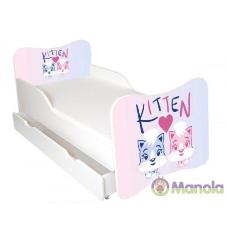 Manola Kitten ágyneműtartós gyerekágy megemelt oldalfallal